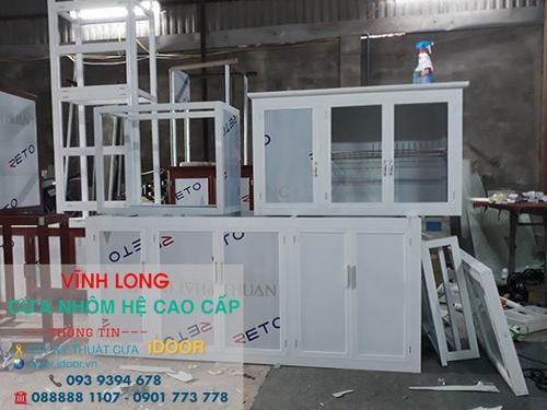 Tủ bếp nhôm kính cao cấp giá rẻ tại huyện Long Hồ- Vĩnh Long